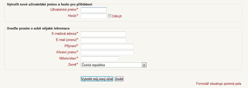 Formulář pro vytvoření nového účtu v systému LMS Moodle