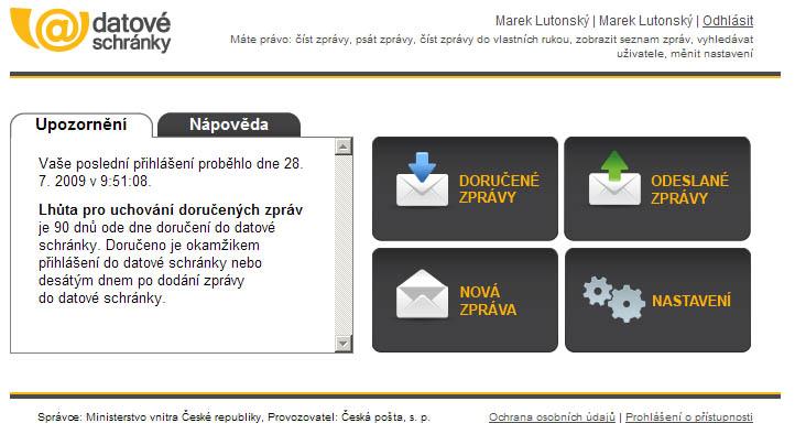 Uživatelské prostředí služby.