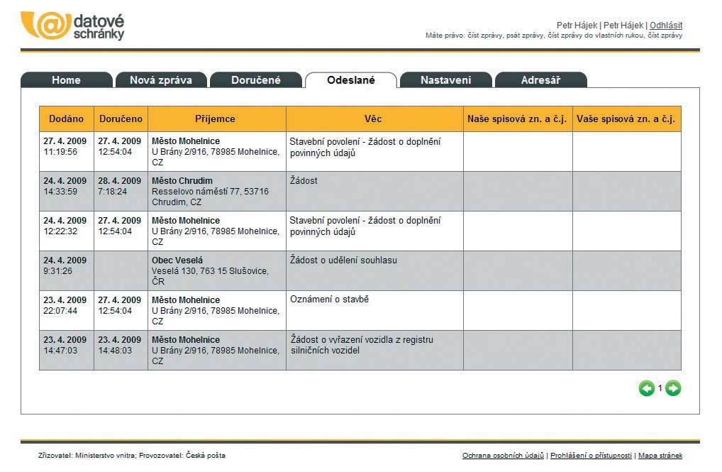 Seznam odeslaných zpráv s označením data doručení
