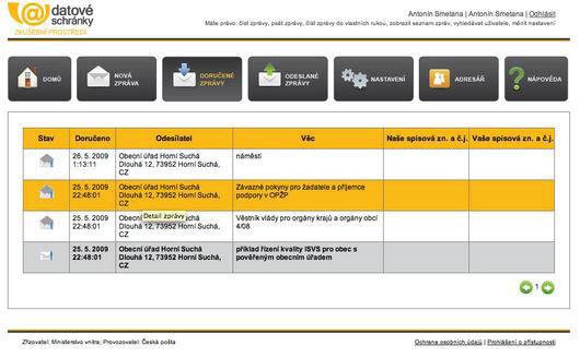 Seznam doručených zpráv s označením data doručení