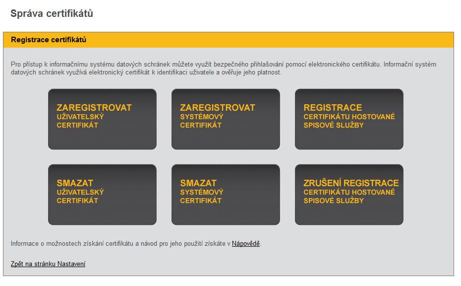 Správa certifikátu