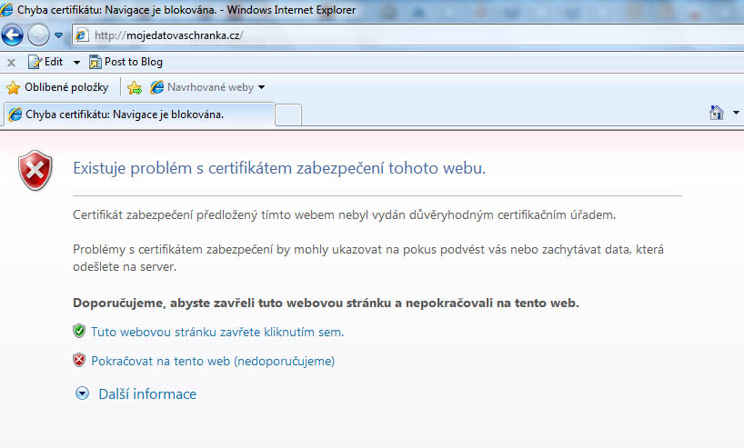 Varování před certifikátem zabezpečení stránky www.mojedatovaschranka.cz